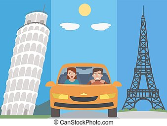 people in car against europe attractions vector cartoon