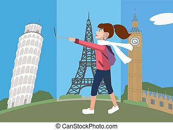 cartoon woman with selfie stick walking against europe attractio