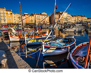 St.Tropez fishing harbor - The quaint little harbor fishing...