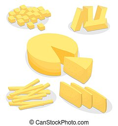yellow cottage cheese Parmesan - Vector illustration logo...