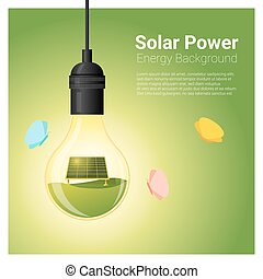 Energy concept background with solar panel in light bulb 2