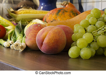 Autumn vegetables and fruits