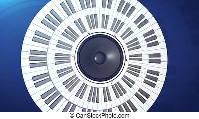 Piano circle keyboard with audio monitor in center. Abstract...