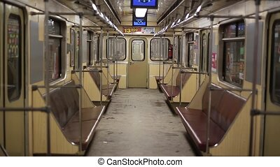 empty subway car - a trip inside an empty subway car,...