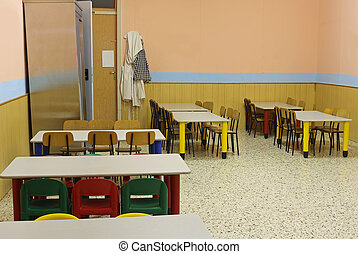 lunchroom school without kids with colorful chairs and small...