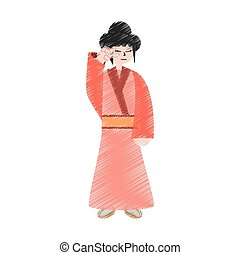 drawing character japanese woman attire costume vector...