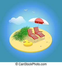 Summer vacation. Sandy island with sunbeds and umbrella....