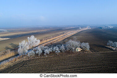 Plains in winter shoot from drone - Landscape of plains in...