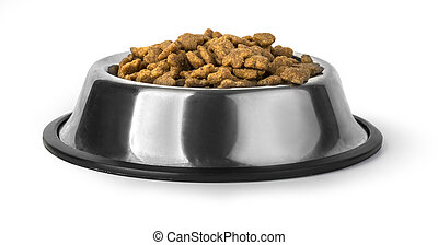Dog food in bowl, isolated on white with clipping path