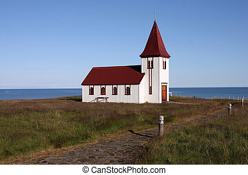 Rural church - Old small wooden church in Hellnar,...
