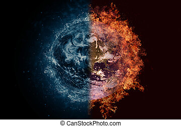 Planet Earth in water and fire. Concept sci-fi artwork.