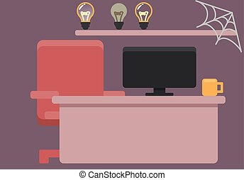 workplace. Vector graphics. substrate. desk and computer