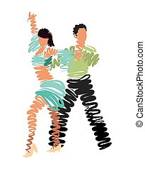 couple dancing. vector stylized watercolor drawing