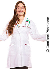 Woman doctor in lab coat - Health insurance. Woman in lab...