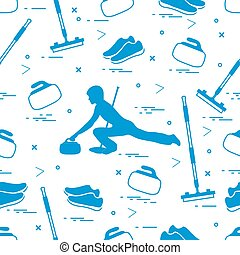 Vector pattern of different objects curling sport.
