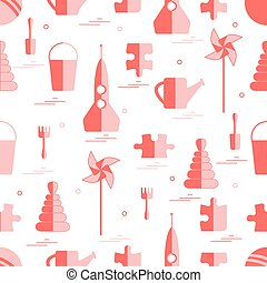 Vector pattern of different kids toys objects: rocket,...