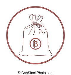 Stylized icon of a knotted bag with money. Design for...