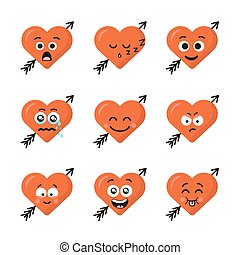 Set of different emoticons emoji heart faces with arrow isolated on the white background. Happy and sad faces. Collection of nine smiles.