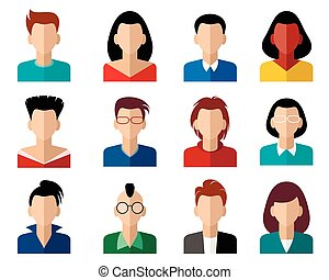 Sixteen avatars set - Vector illustration of a sixteen...