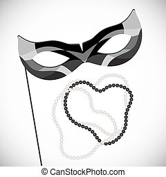 Masquerade mask on a stick. Black and white pearl necklace. Mardi Gras.