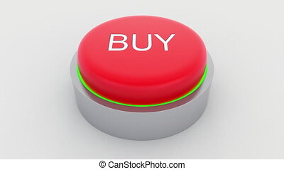 Big red button with buy inscription being pushed. Conceptual...