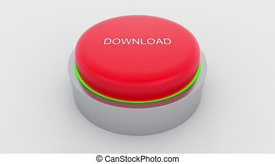 Big red button with download inscription being pushed.