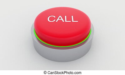 Big red button with call inscription being pushed....