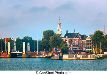 Amsterdam canal with dutch houses