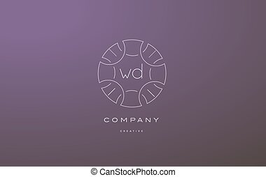 wd w d monogram floral line art flower letter company logo...