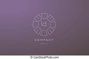 ld l d monogram floral line art flower letter company logo...