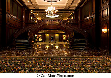 Twin Curving Staircases Past Carpet - Twin curving...