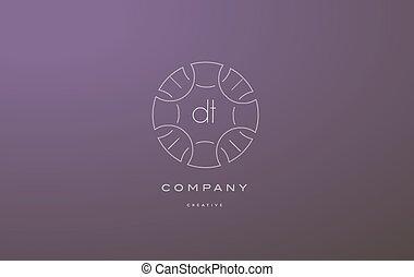 dt d t monogram floral line art flower letter company logo...