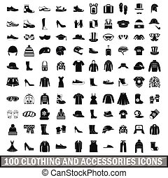 100 clothing and accessories icons set in simple style for...