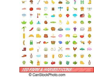 100 farm and harvest icons set, cartoon style - 100 farm and...