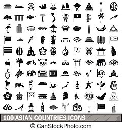 100 asian icons set in simple style for any design vector...