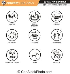 Concept Line Icons Set 16 Cave art - Anthropology and cave...