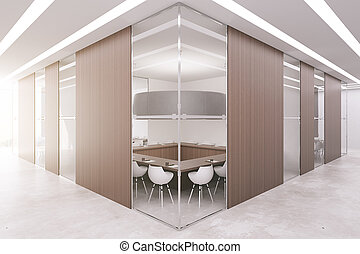 Boardroom with wooden panels - New boardroom with several...