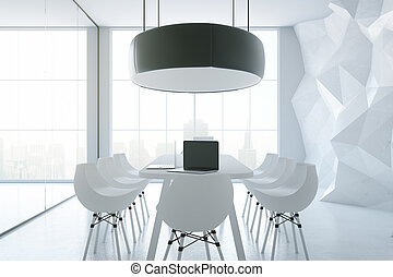 White boardroom - Side view of white boardroom with...