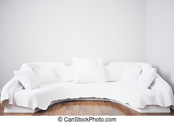 Couch with cushions - Front view of white couch with...