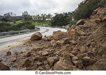 Los Angeles Canyon Road Landslide - Winter storm landslide...