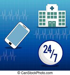 hospital medical service online 24-7 vector illustration eps...