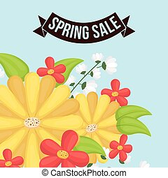 spring sale flowers decorative poster