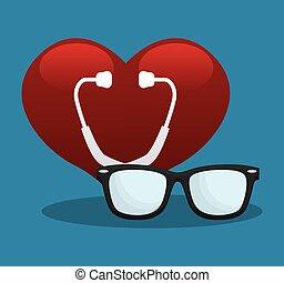 stethoscope heart medical equipment vector illustration eps...