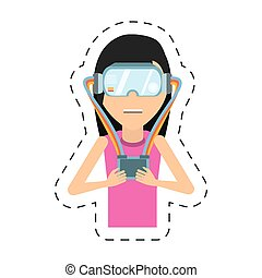 cartoon girl with vr headset control