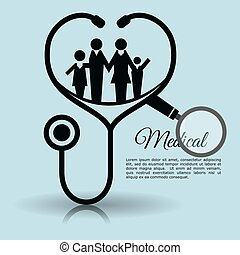 family stethoscope medical equipment vector illustration eps...