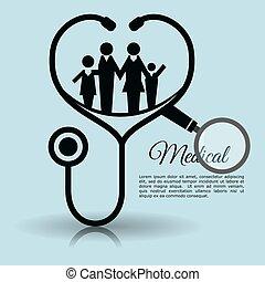 family stethoscope medical equipment vector illustration eps...