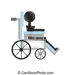 drawing patient wheelchair medical equipment vector...