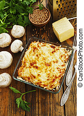 Buckwheat casserole with chicken and mushrooms on the table