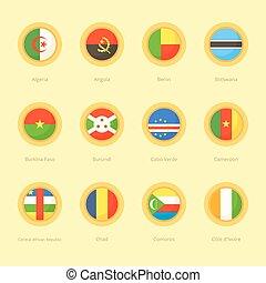African Circular Flags (Algeria, Cabo Verde, Comoros) -...
