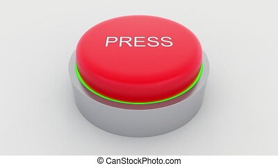Big red button with press inscription being pushed....